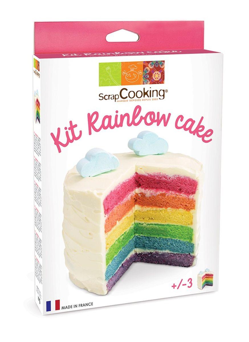Kit rainbow cake : 4 sachets de levures colorées. cuillère doseuse et mode d´emploi - Scrapcooking