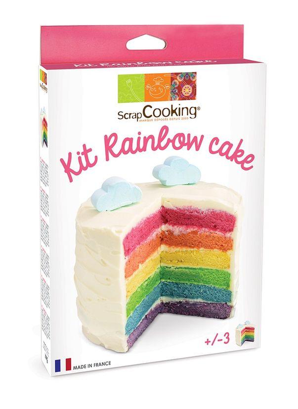Kit rainbow cake : 4 sachets de levures colorées, cuillère doseuse et mode d´emploi - Scrapcooking