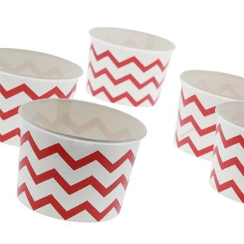 6 TREAT CUPS POT A GLACE ROUGE ET BLANC - ANNIVERSARY HOUSE