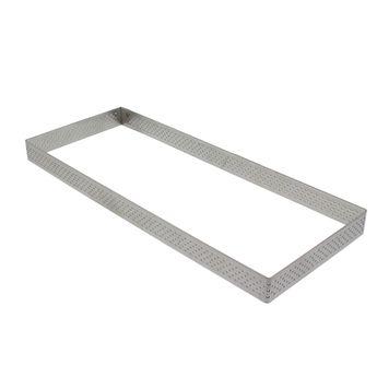 Achat en ligne Cercle à tarte rectangulaire perforé en acier inoxydable 28 x 11 cm - De Buyer