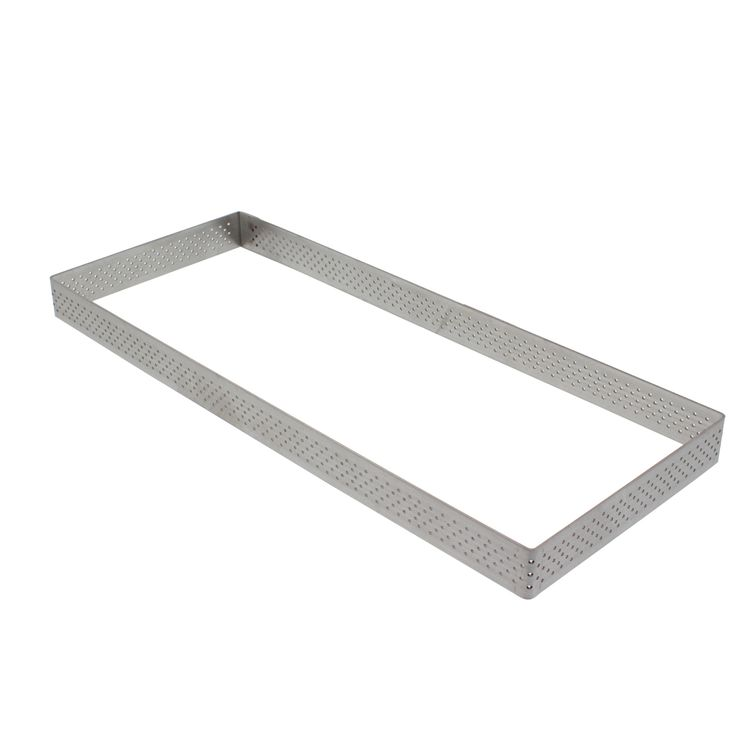 Cercle à tarte rectangulaire perforé en acier inoxydable 28 x 11 cm - De Buyer