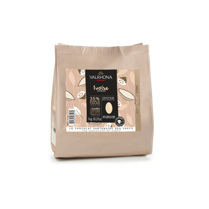 SAC DE FEVES CHOCOLAT BLANC IVOIRE 35% 1 KG - VALRHONA