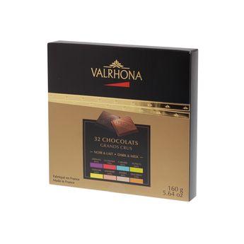 COFFRET 32 CARRES DE 8 GRANDS CRUS DE CHOCOLAT NOIR ET LAIT 160GR - VALRHONA
