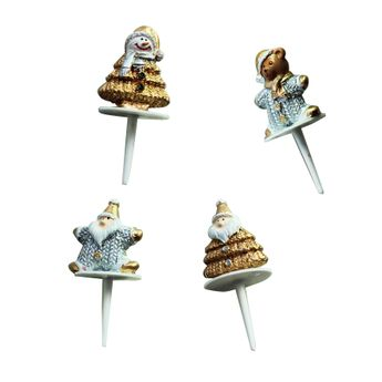 FIGURINES DE NOEL ARGENT ET OR - LOT DE 4 - ALICE DELICE
