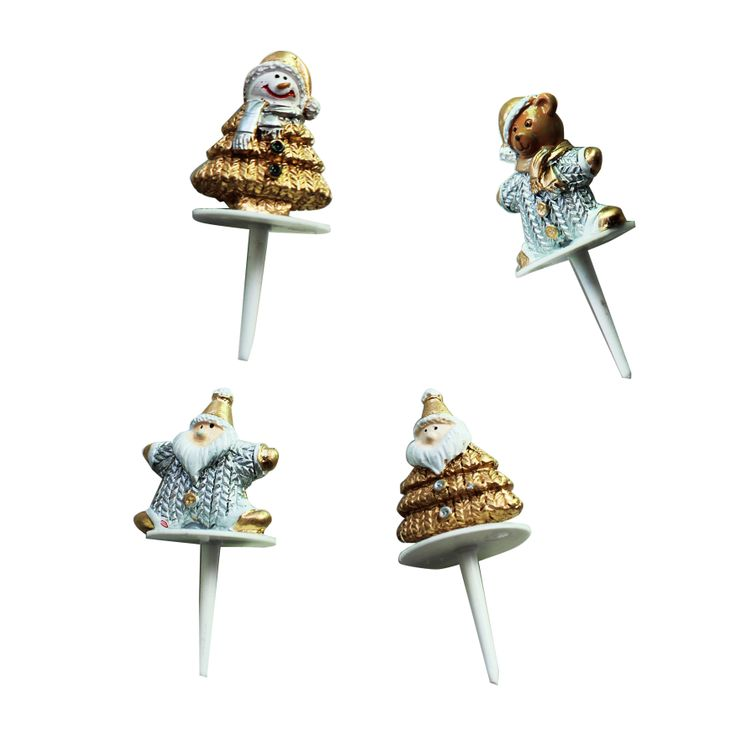 Figurines de Noël argent et or - Lot de 4 - Alice Délice