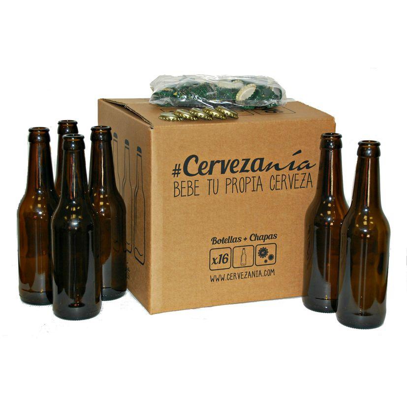 Set 16 bouteilles de bière en verre et 100 bouchons couronne - Cervezania