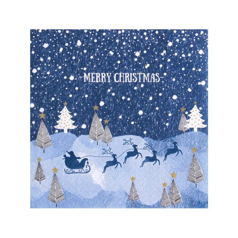 Serviettes traîneau Père Noël bleu 33x33cm - Avant Garde