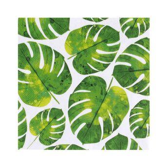 Serviettes 33cm x 33cm feuilles tropicales - AvantGarde