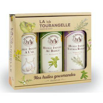 Trio coffret huiles infusées (basilic, ail, thym romarin) - La Tourangelle