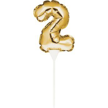 Achat en ligne Décor de gâteau : Ballon chiffre 2 doré - Creative Converting