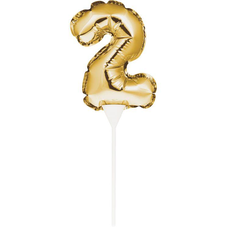 Décor de gâteau : Ballon chiffre 2 doré - Creative Converting