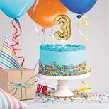 Décor de gâteau : Ballon chiffre 3 doré - Creative Converting