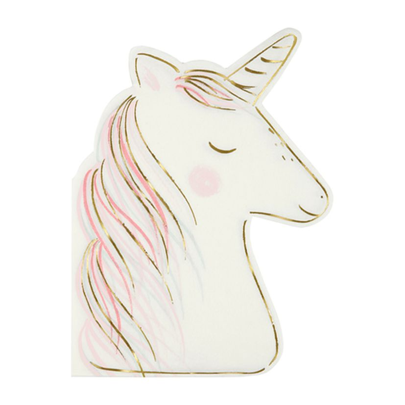 16 SERVIETTES DE TABLE FORME LICORNE - MERI MERI
