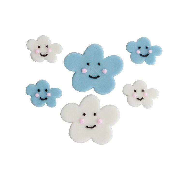 6 décors en sucre nuages bleus et blancs - Anniversary House