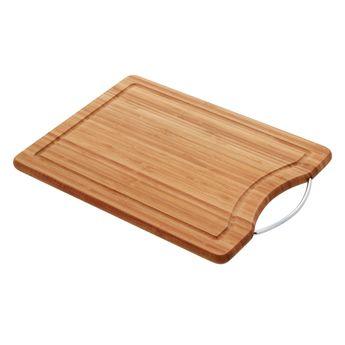 Achat en ligne Planche à découper en bambou avec anse métal et rigole 40 x 28 cm - Zeller