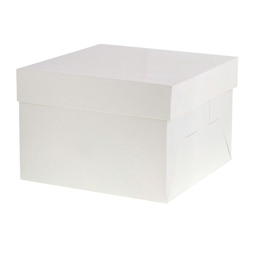 Boîte gâteaux blanche 21 cm x 21 cm x 15 cm - Patisdecor