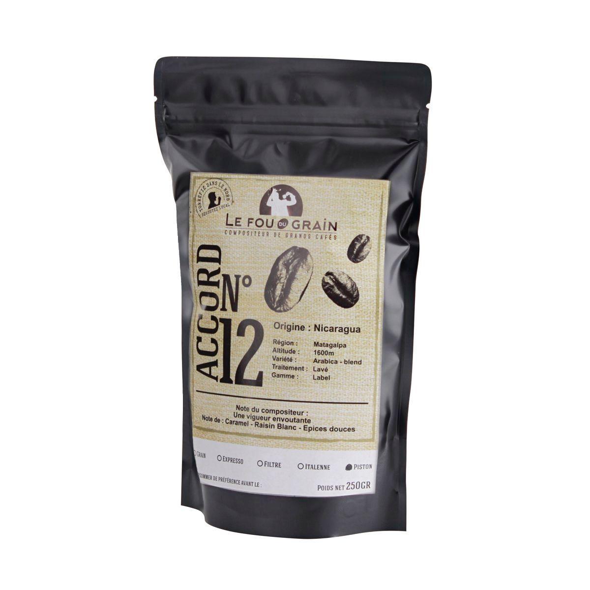 Café moulu pour cafetière piston 250gr Nicaragua Accord n°12 - Le Fou du Grain
