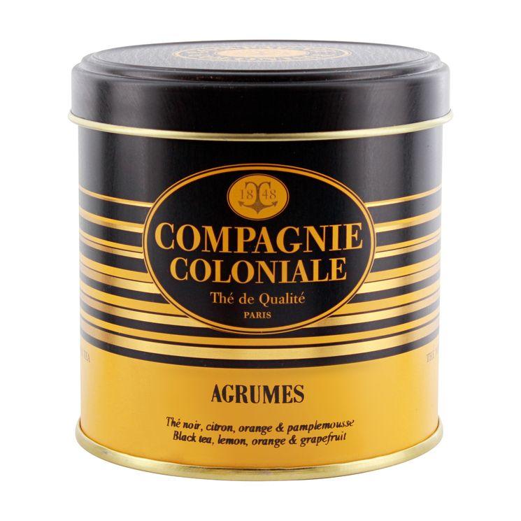 Thé noir aromatisé boîte métal agrumes - Compagnie Coloniale