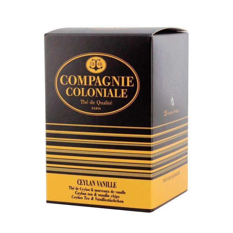Thé noir aromatisé 25 berlingots Ceylan vanille - Compagnie Coloniale
