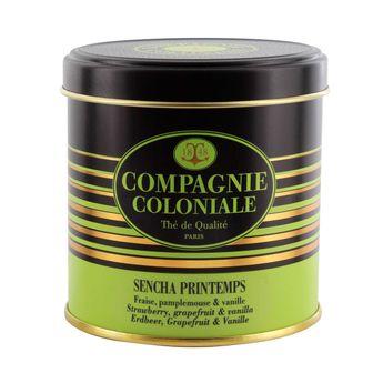 Thé vert aromatisé boîte métal Sencha printemps - Compagnie Coloniale