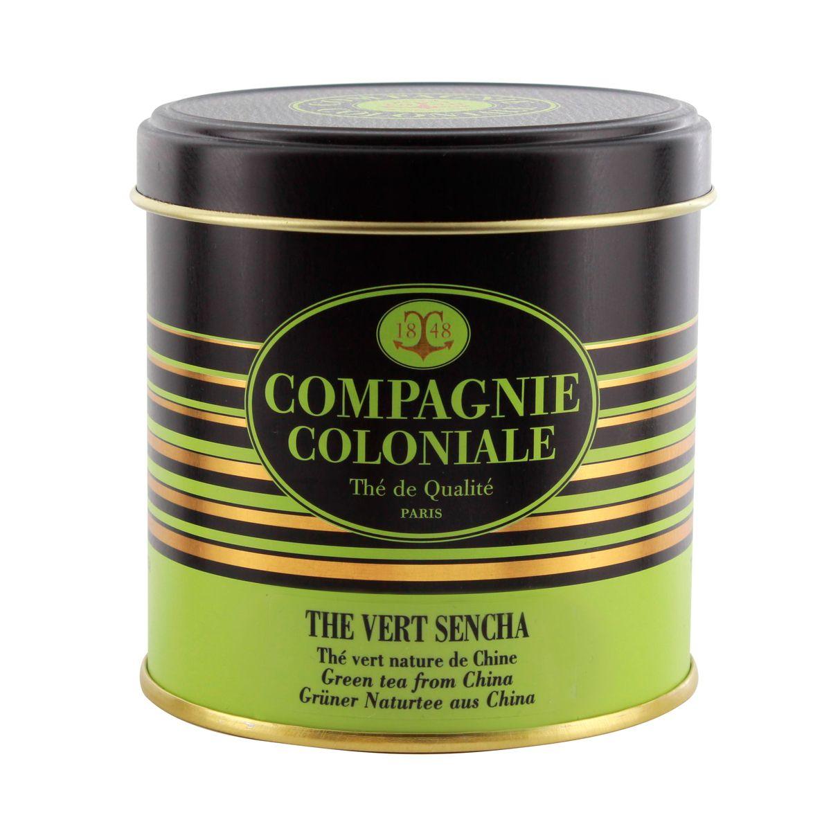 Thé vert aromatisé boîte métal thé vert Sencha 100gr - Compagnie Coloniale