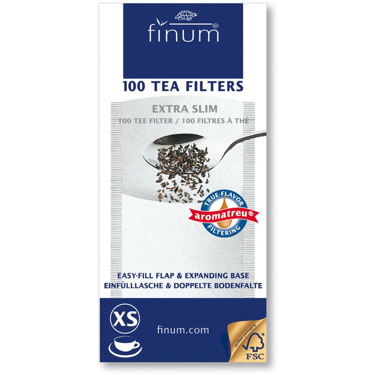 100 filtres à thé XS 60 x 130mm jusqu´à 2 tasses - Finum