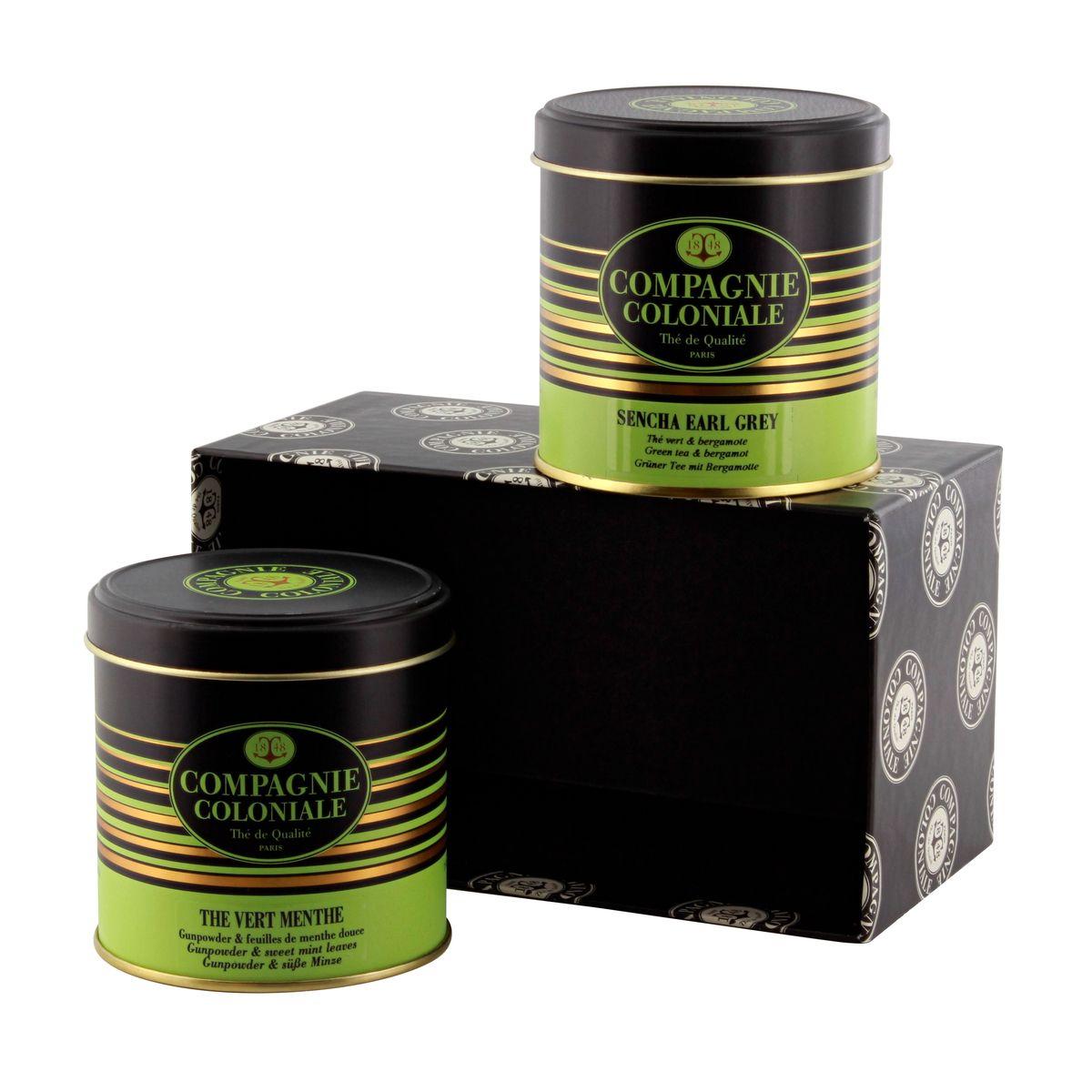 Coffret boîtes de luxe : sencha earl Grey / thé vert menthe - Compagnie Coloniale