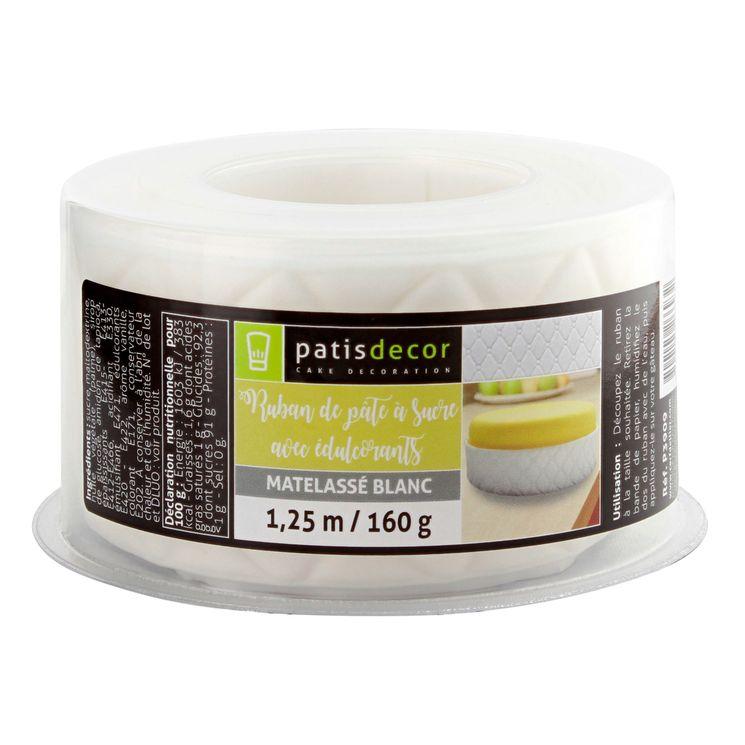 Ruban pâte à sucre matelassé blanc 1.25m 160 gr - Patisdecor