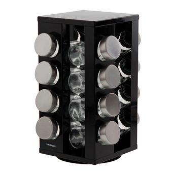 Porte-épices noir avec 16 pots en verre - Salt&Pepper