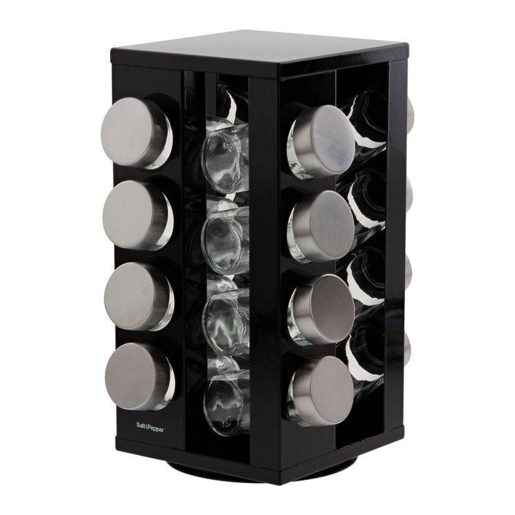 Support à épices rotatif noir 16 pots en verre - Salt&Pepper