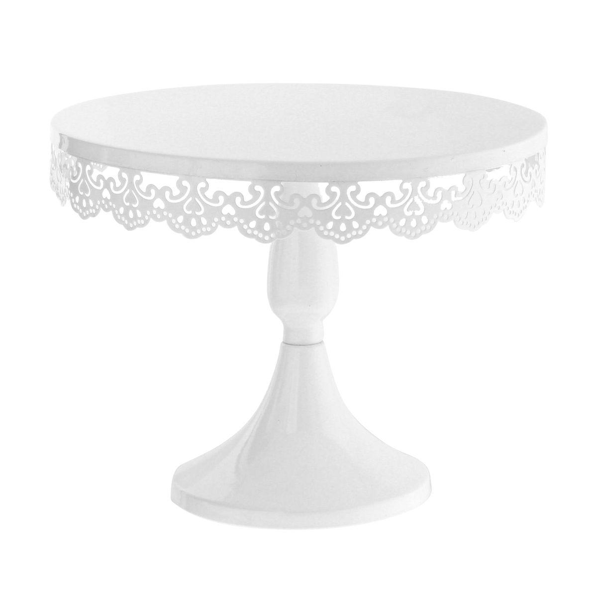 Présentoir à gâteau blanc avec broderies 30cm - Patisdecor