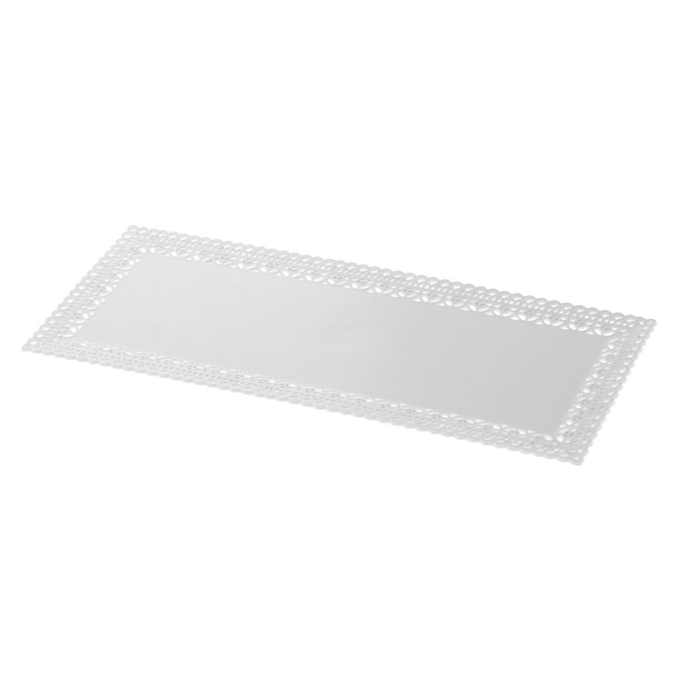 Plateau en plastique blanc avec bords dentelle 13x32cm - Patisdecor