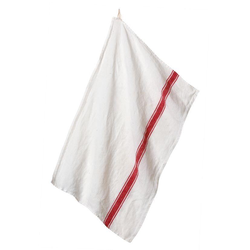 Torchon Vivario 46x70 blanc/rouge 100% lin  - Harmony