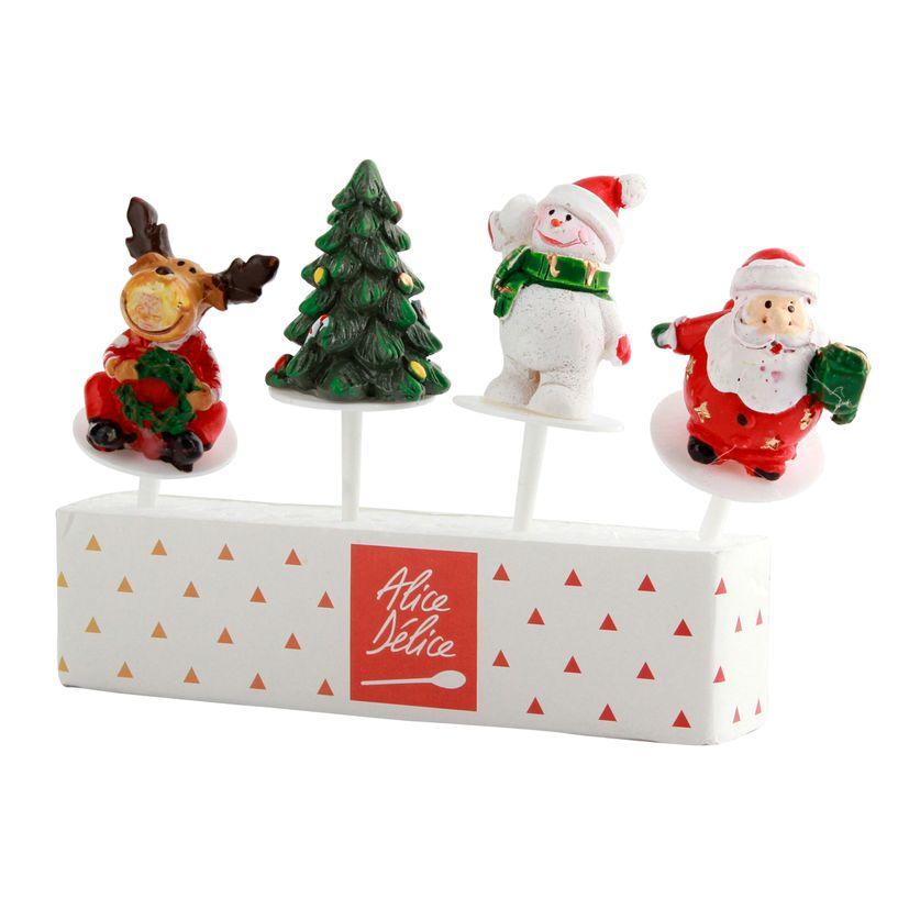 Décor de gâteau :4 sujets en plastique pour bûche de Noël
