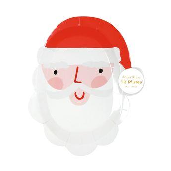 12 petites assiettes tête de Père Noël - Meri Meri