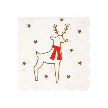 16 petites serviettes de table renne et étoiles - Meri Meri