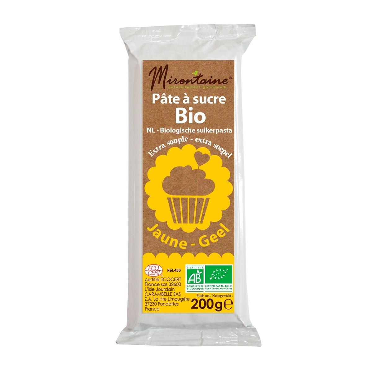 Pâte à sucre bio jaune 200gr - Mirontaine