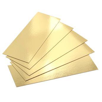 Achat en ligne 5 supports à gâteaux rectangulaires dorés 30 x 10 cm - Gatodeco