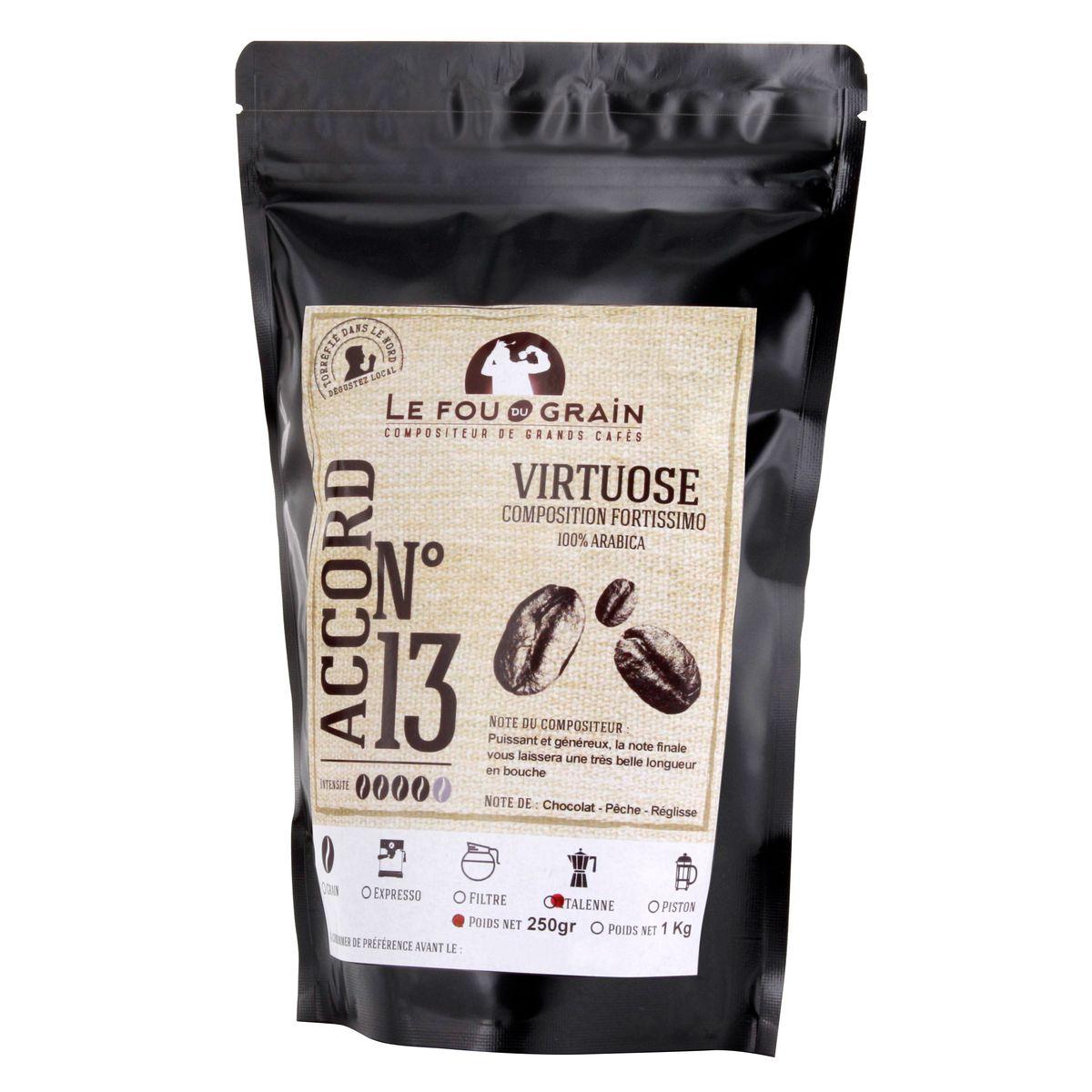 Café moulu pour machine expresso 250gr Virtuose Accord n°13 - Le Fou du Grain