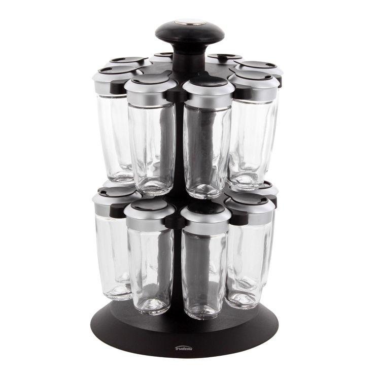 Support à épices carrousel 16 pots en verre et 16 épices incluses - Trudeau