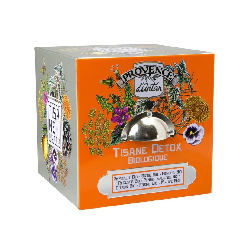 Cube métal tisane détox 24 sachets bio* 60g - Provence d´Antan