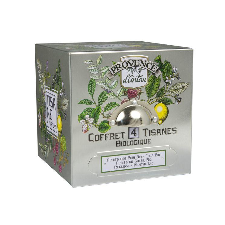 Cube métal coffret 4 saveurs 24 sachets bio* 48g - Provence d´Antan