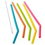 Set de 6 pailles droite en silicone multicolore - Dotz