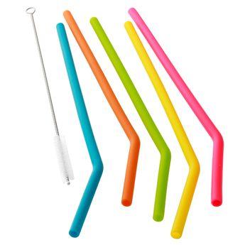 Set de 6 pailles courbées en silicone multicolore - Dotz