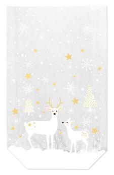 Achat en ligne 10 sachets confiseur avec clips biches et étoiles de Noël 14.5 x 23.5 cm - Zischka