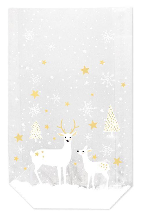 10 sachets confiseur avec clips biches et étoiles de Noël 14.5 x 23.5 cm - Zischka
