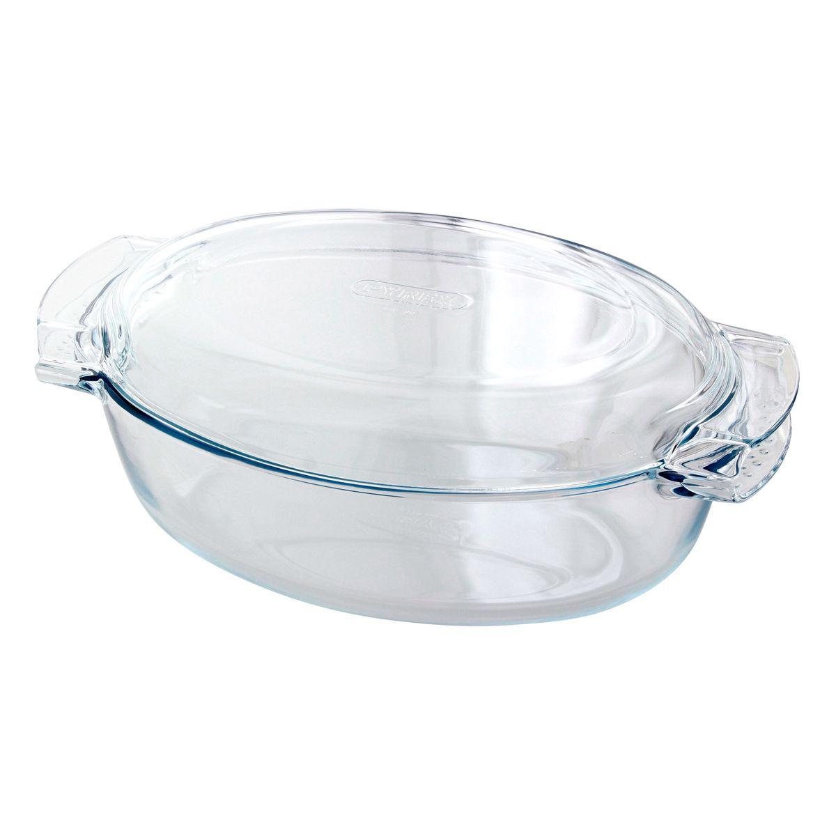 Cocotte en verre ovale 38x23cm 5.8L (4.4l+ couvercle 1.4l)- Pyrex