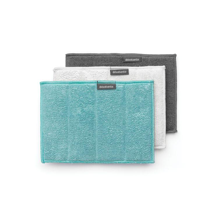 3 éponges de nettoyage en microfibre grise, blanche et bleue 17.5x23.5cm - Brabantia