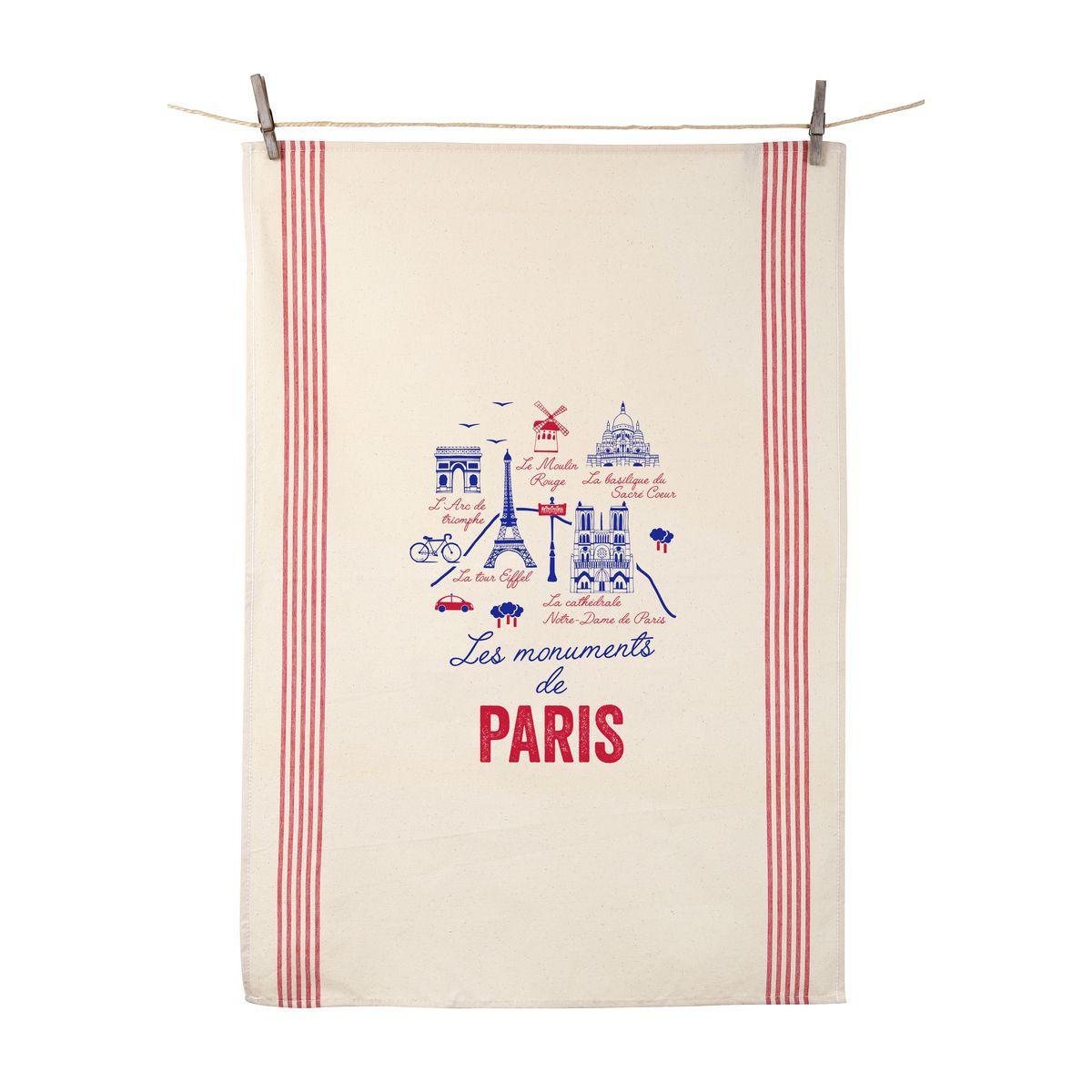 Torchon Les monuments de Paris 55x80 cm 100% coton - Tissage de L´Ouest
