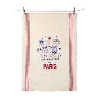 Achat en ligne Torchon Les monuments de Paris 55x80 cm 100% coton - Tissage de L´Ouest